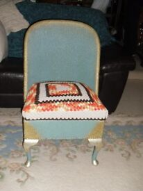 Loom Type Chair with Under Seat Storage Blue / Gold with Crochet Seat Cover