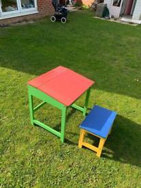 Child's Wooden Desk & Chair / Stool