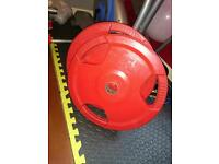 25kg weights bumper plates rubber coated red powerlifting gym weights