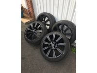 Vw t5 Range Rover stormer alloy wheels 20x9.5 black with as new tyres
