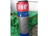 1.2 metre BBE punch bag with sparring gloves and mitts. £20 for quick sale