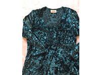 Designer evening /party outfit. In lightweight deep green velvet size 12
