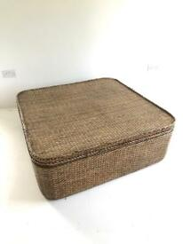 Large Rattan Wicker indochine coffee table storage box / chest