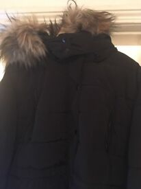 PLUS SIZE 26 QUILTED COAT WITH FAUX FUR HOOD