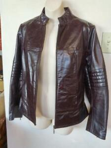 "Womens M 8-10 RETRO MOTORCYCLE JACKET Sexy Fit Burgundy Leather Biker Coat Deadstock New No brand Cowhide 36"" Cafe Racer"
