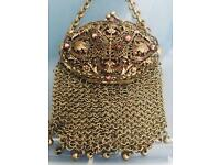 Antique rare vintage 1800's Victorian Chatelaine Mesh Purse