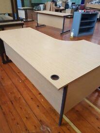Large Oak effect curved office desks right handed and left handed 1800mm