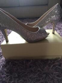 Next silver sparkle peep toe shoes size 5