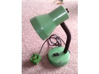 GREEN METAL DESK LAMP WITH PLUG