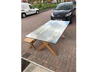 Dining room glass table with bench