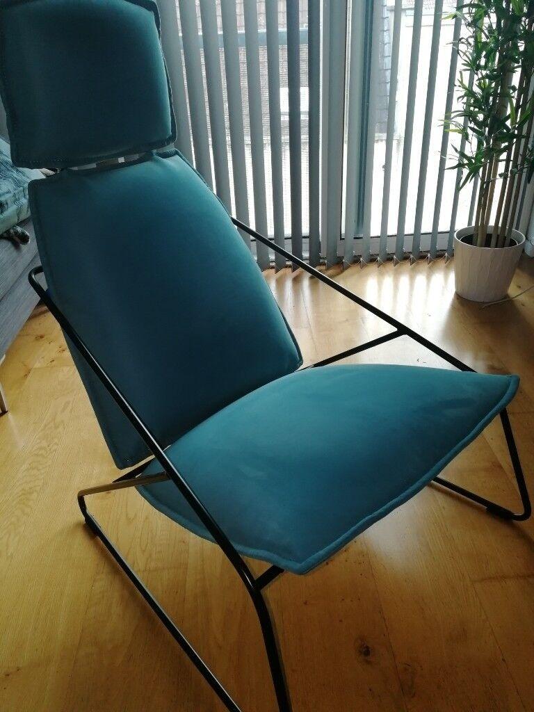 Ikea Villstad High Back Armchair In Samsta Turquoise