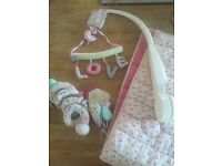 Mamas & Papas Shabby Chic set: musical mobile, bumper and toy Immaculate