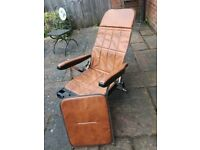 Reclining leather style garden chair
