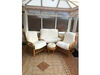Conservatory furniture: 1 double chair, 2 singles and a foot stall