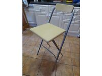 HIGH FOLDING CHAIR FOR USE AT BAR, WORK TABLE OR BREAKFAST BAR IN WOOD AND METAL