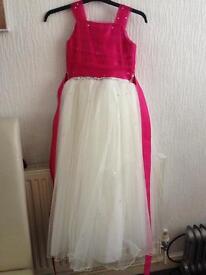 Girls diemonte pink & white pageant dress age 10-12
