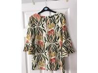Next cream floral bell sleeved top size 10