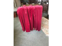 90 x 72 inch large pencil pleat curtains in cotton velvet. Cherry red. VGC