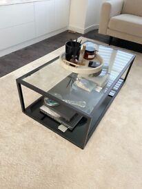 Black metal/glass coffee table