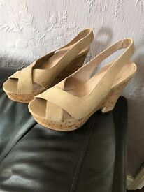 Next, Beige shoes size 5 , never worn excellent condition, wedge cork look , comfy