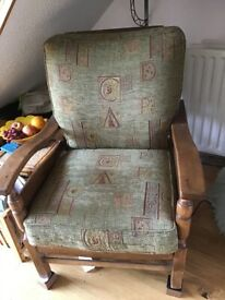 2 small wooden framed armchairs