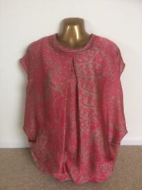 M&S Limited Edition Cerise Pink & Gold Lined Dress Top Shirt - Size 12