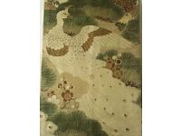 ANTIQUE JAPANESE MARU OBI with PEACOCK