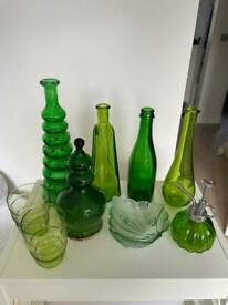 A Collection of 9 pieces of Green Glassware some unusual shapes