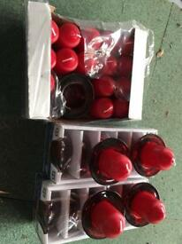 18xred candles and candle holders NEW