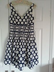 Summer Dress Blue With Larke White Polka Dots Size 10 Fully Lined