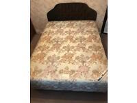 King size mattress & divan base bed with headboard