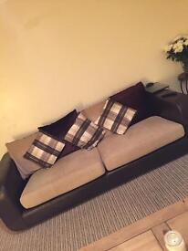 Brown leather and cream Sofa