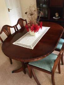 Mahogany Dining Table, 4 Chairs & Matching Display Unit