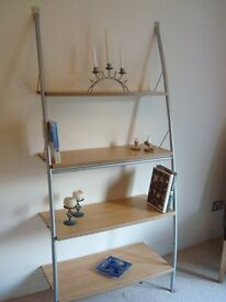 Very solid House of Fraser set of Shelves beech silver effect arched to fit to wall