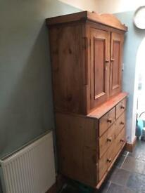 Antique pine cupboard (linen press)