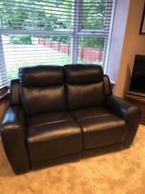 Brown leather recliner sofa