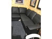 NEW black leather corner suite