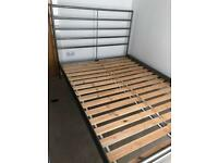 TOP QUALITY ... SAME DAY DELIVERY .. OAK AND METAL FRAME DOUBLE BED WITH MATTRESS..