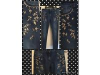 Girls gold sequin skinny jeans with adjustable waist band