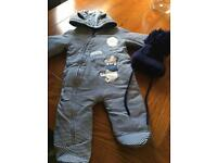 Baby boys 3-6 pooh bear snow suit Pram suit and Pom Pom hat as new bundle