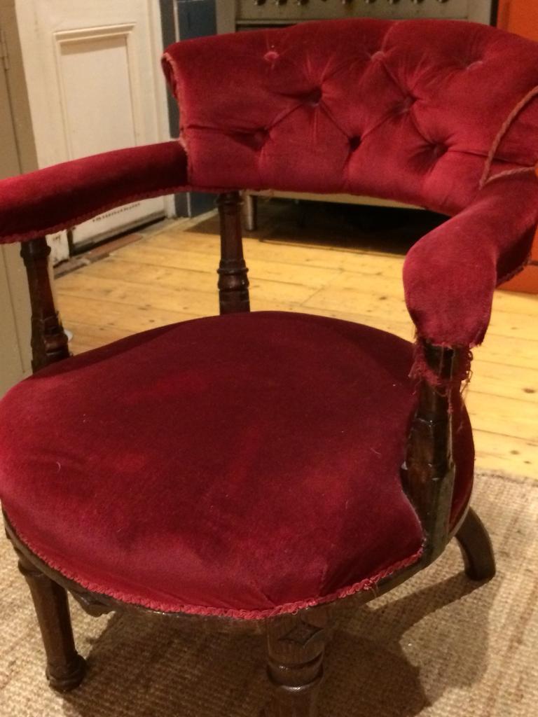 Vintage Antique Red Velvet Chair
