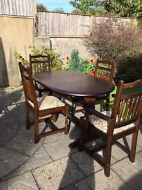 Dark Oak Extendable Table and Chairs