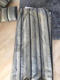 Champagne black and grey striped lined curtains with two matching cushions