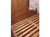 pine wood big bed