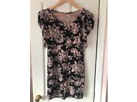 Women's size 12 pink, black and grey floral dress