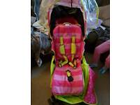 Girls pushchair stroller in pink and lime