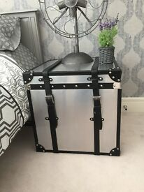 TWO silver grey cubed bedside tables, with black straps and storage £200 for both!!!!