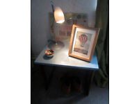 Lovely retro compact table danish style, living room, hall, lamp, bedside, wood frame, small little
