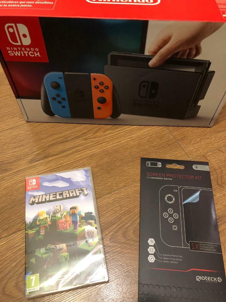 Brand new Neon Nintendo Switch + Minecraft + screen protector full warranty  and receipt | in Leicester, Leicestershire | Gumtree