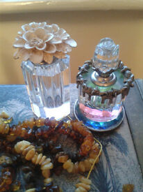 2 X ORNATE REFILLABLE CRYSTAL PERFUME BOTTLES